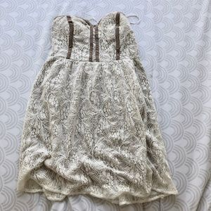 Urban Outfitters Lace Tan Strapless Dress